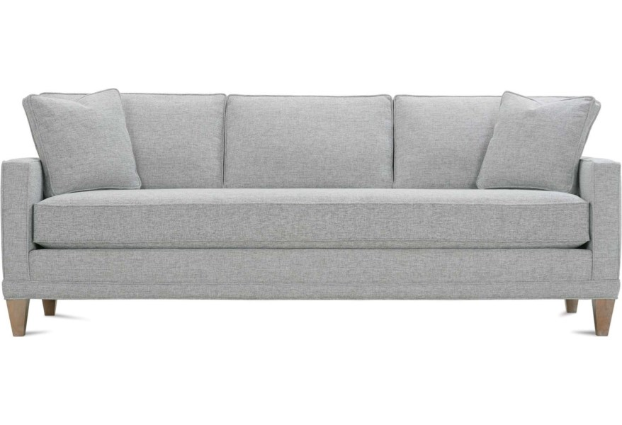 Customizable Bench Cushion Sofa With Track Arms Wood Legs