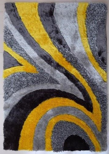 Rug Factory Plus Shaggy Viscose Rug   Gray Yellow Rug With Swirled Design    Red Knot   Rug