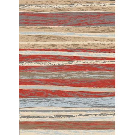 "Beaumont Stripes Red BM15A 8'0""x10'0"""