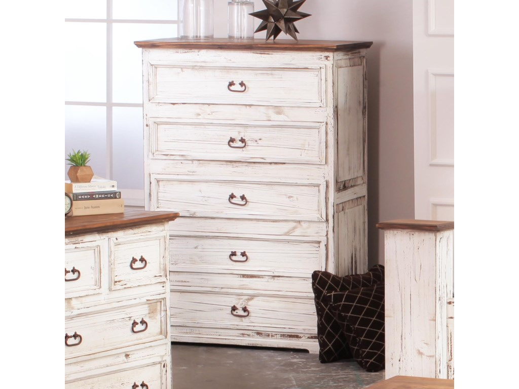Rustic imports rustic mansionsolid pine five drawer chest