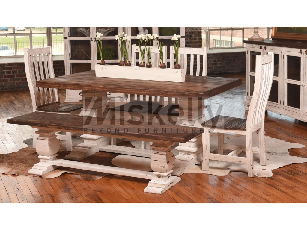 Rustic Imports MES2 - WHITESolid Wood Table with 4 Chairs and Bench