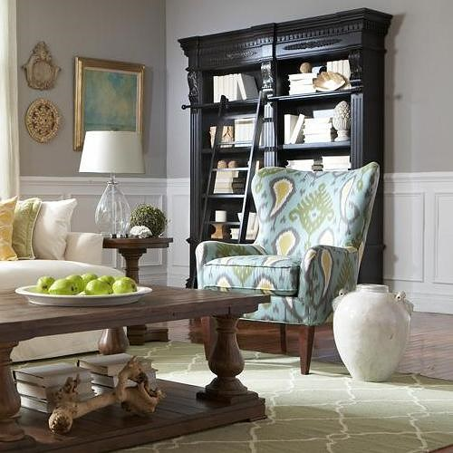 Sam Moore Nikko Contemporary Wing Chair with Tapered Wood Legs
