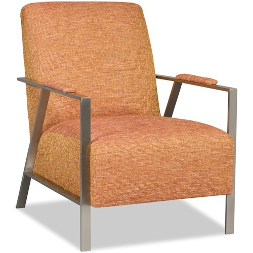 Sam Moore Nora Mid Century Modern Accent Chair with Stainless Steel Arms