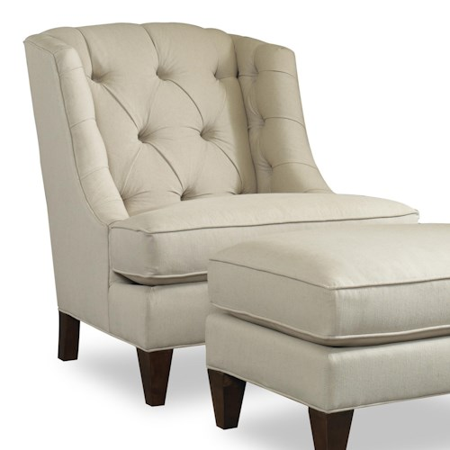 Sam Moore Arden Transitional Wing Chair with Button Tufting and Exposed Wood Feet