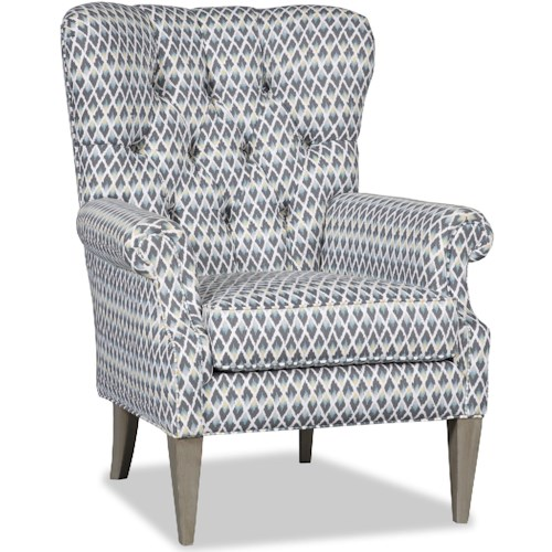 Sam Moore Ayla Transitional Button Tufted Chair with Rolled Arms