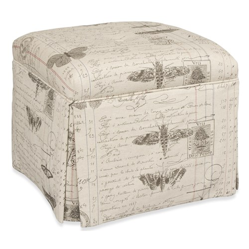 Sam Moore Becca Traditional Ottoman with Waterfall Skirt and Welt Cord Trim