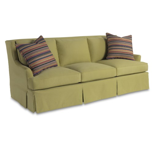 Sam Moore Blakely Contemporary Three Over Three Sofa with Waterfall Skirt