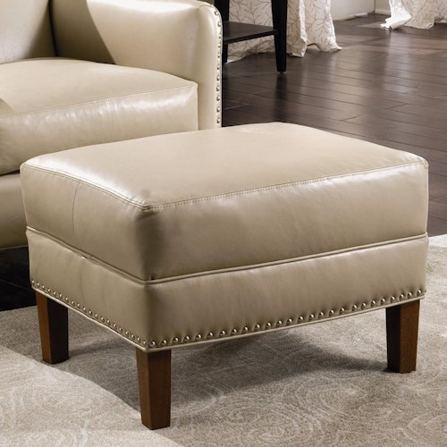 Sam Moore Calvin Leather Ottoman with Nailhead Trim