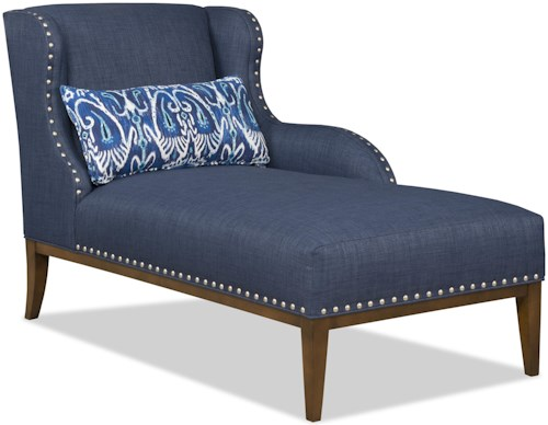 Sam Moore Cosette Transitional RAF One Arm Chaise with Nailhead Trim