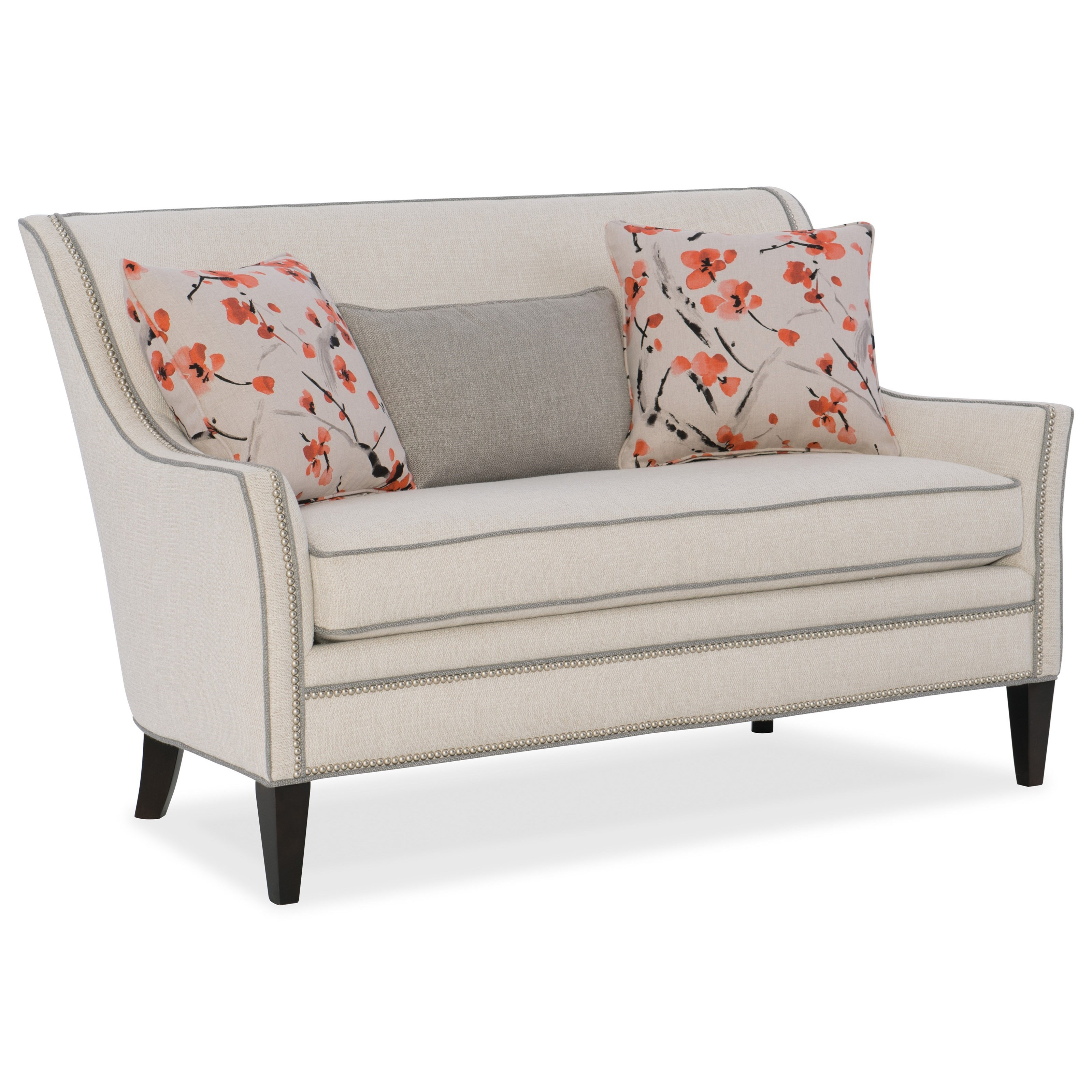 Everly Wing Back Settee With Nailhead Border By Sam Moore