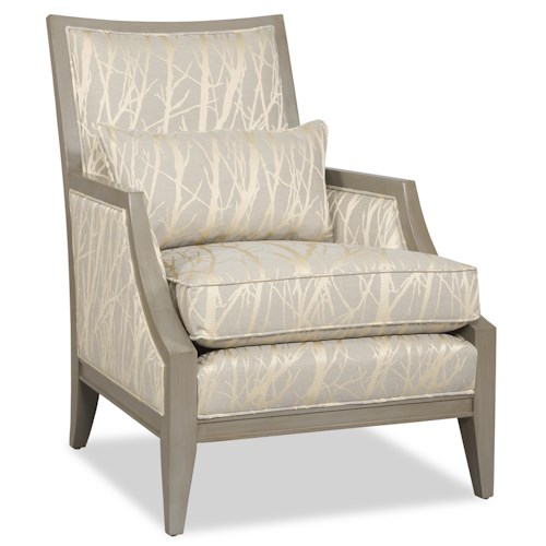 Sam Moore Kamira Contemporary Exposed Wood Chair with English Arms and Boxed Cushion