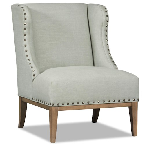 Sam Moore Linnea Transitional Wing Chair with Nailhead Trim