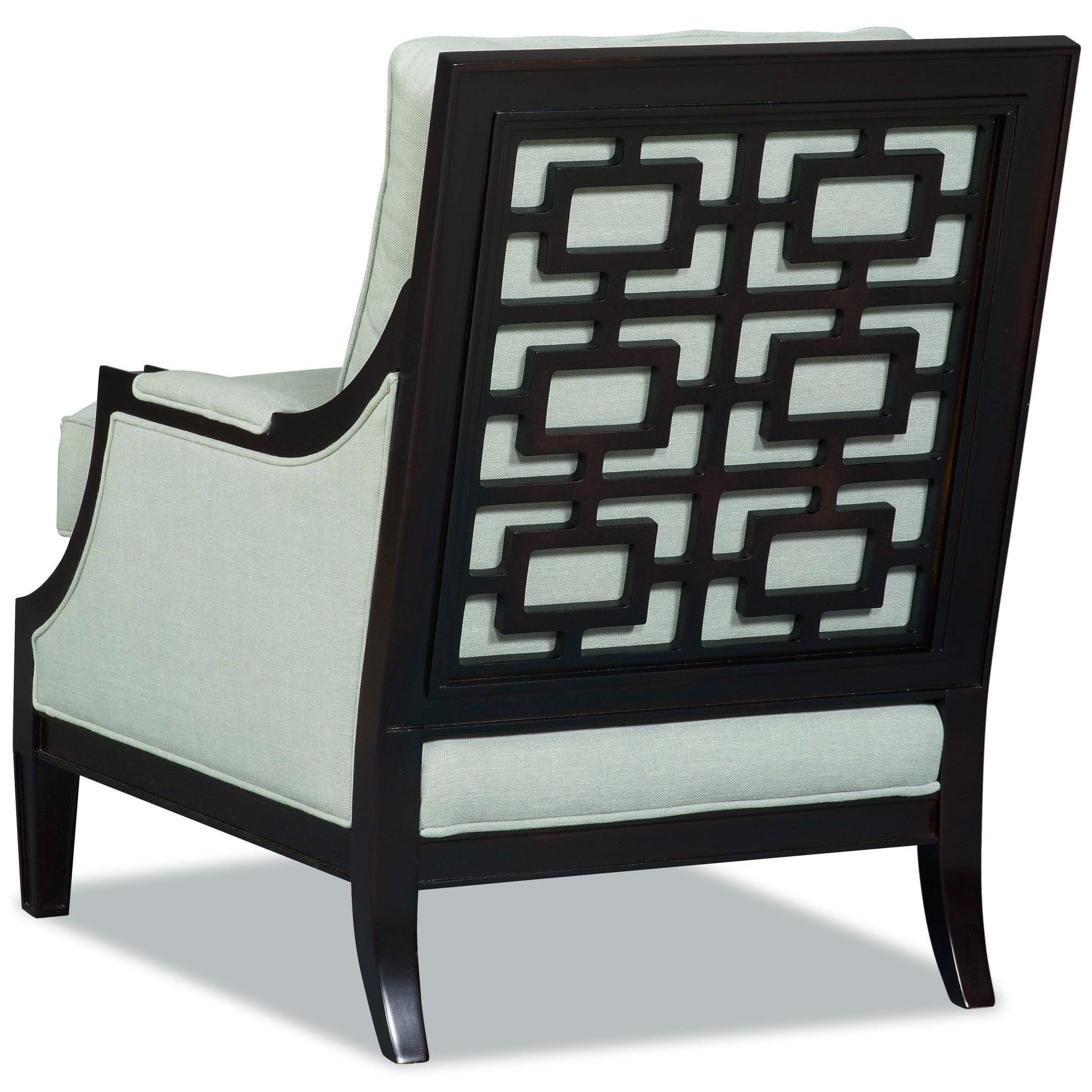 Sam Moore Loki Transitional Exposed Wood Chair With Asian Inspired Lattice  Back
