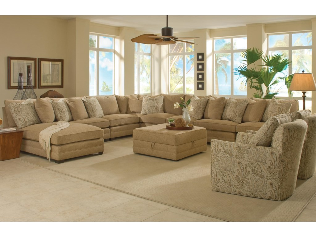 Sam Moore Margo8 Pc Sectional Sofa w/ LAF Chaise