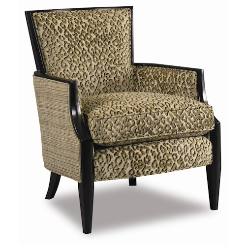 Sam Moore Nadia  Upholstered Exposed Wood Accent Chair