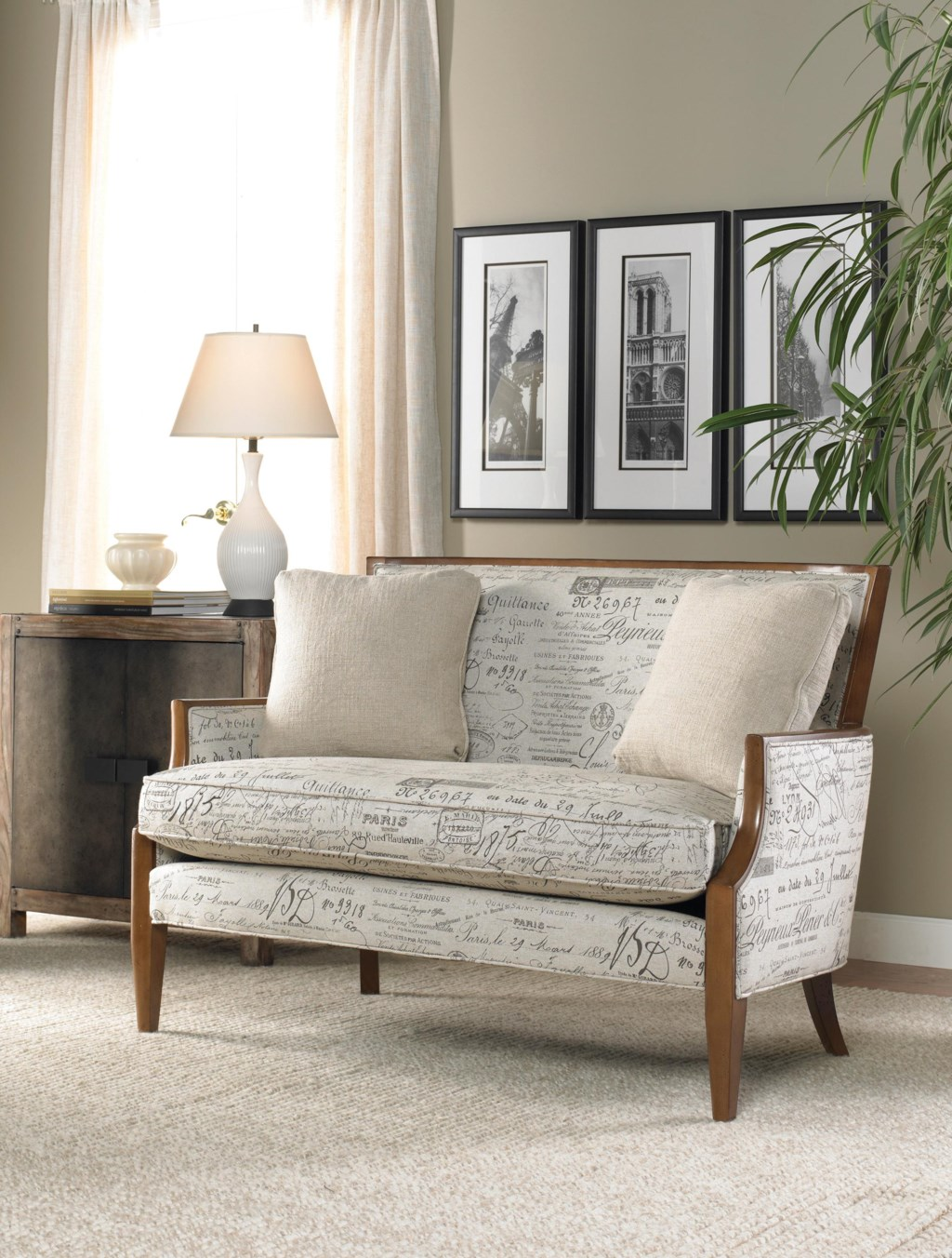 Sam Moore Nadia 6508 Contemporary Settee With Sloped Arms And