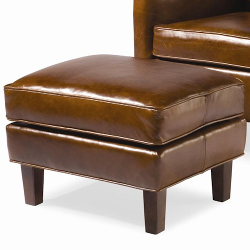Sam Moore Nigel Upholstered Ottoman with Wood Feet