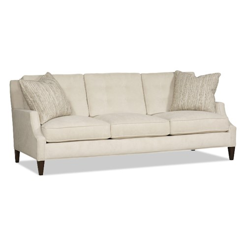 Sam Moore Palisade Contemporary Three Over Three Sofa with Scalloped Track Arms
