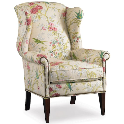 Sam Moore Remington Wing Chair with Nail Head Trim Decoration