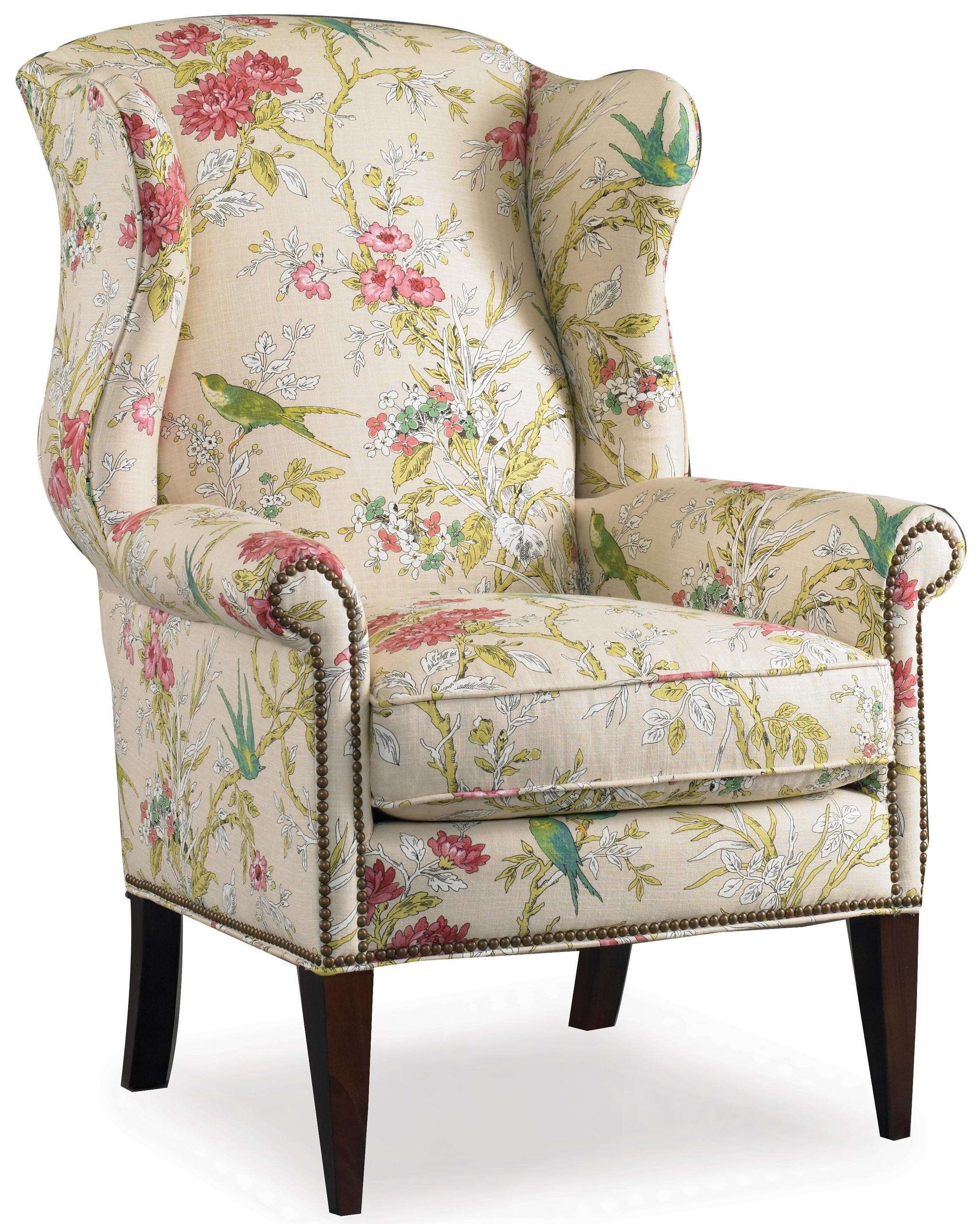 Sam Moore Remington Wing Chair With Nail Head Trim Decoration   Belfort  Furniture   Wing Chair