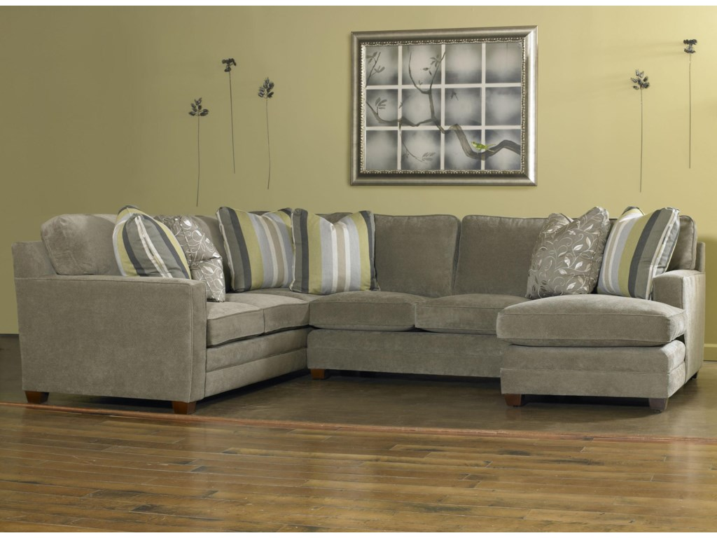 Ricky Contemporary Three Piece Sectional Sofa W Raf Chaise By Sam Moore
