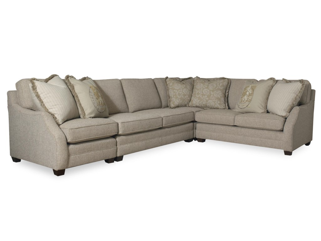 Sam Moore Rita Transitional Three Piece Sectional Sofa With Raf Return