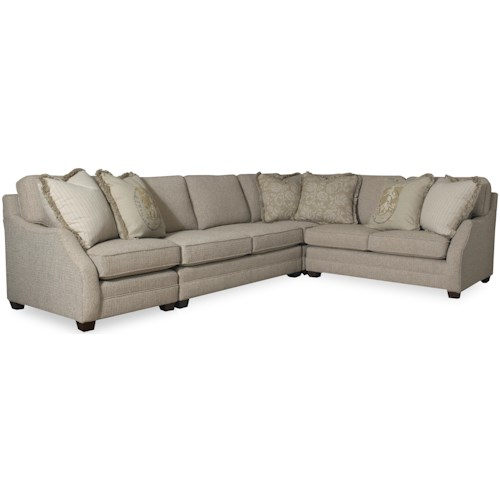 Sam Moore Rita Transitional Three Piece Sectional Sofa With Raf Return