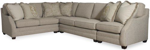 Sam Moore Rita Transitional Three Piece Sectional Sofa With Laf Return