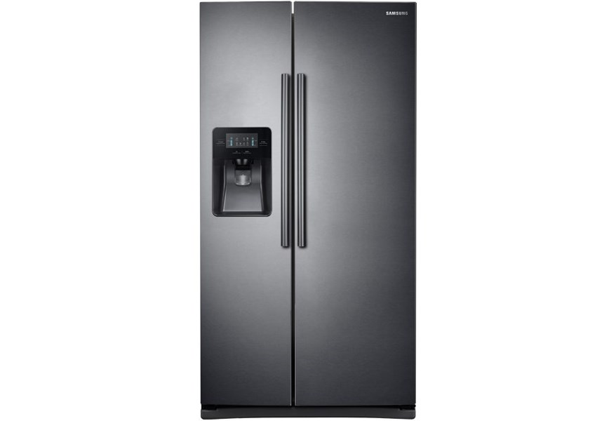 Side-By-Side Refrigerators- Samsung 25 cu. ft. Side-By-Side Refrigerator  with LED Lighting by Samsung Appliances at Furniture and ApplianceMart
