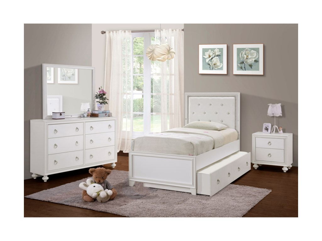 Samuel Lawrence Bella WhiteTwin Bed Room Group