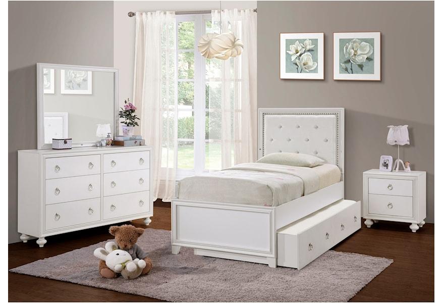 Samuel Lawrence Bella White S458 410 430 6 Drawer Dresser And Mirror Set With Led Lighting Nassau Furniture And Mattress Dressers