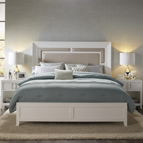 Samuel Lawrence Brighton Queen Panel Bed w/ Upholstered Headboard