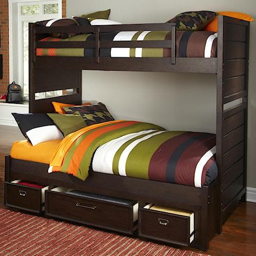 Kidz Gear Mason Twin Over Full Storage Bunk Bed