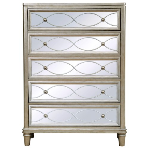 Samuel Lawrence Cut Glass 5 Drawer Chest with Mirrored Drawer Fronts