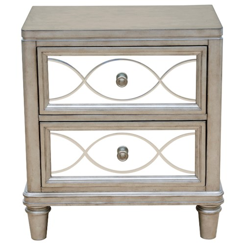 Samuel Lawrence Cut Glass 2 Drawer Nightstand with Mirrored Drawer Fronts