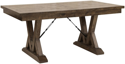 Samuel Lawrence Dakota Rustic Trestle Dining Table with Metal Accents