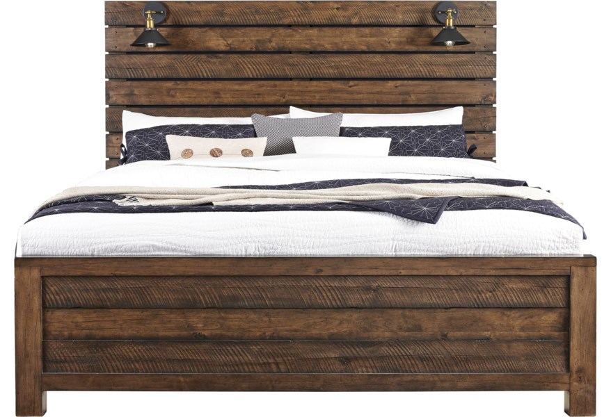 Samuel Lawrence Dakota Rustic King Panel Bed With Built In Lamps Darvin Furniture Panel Beds