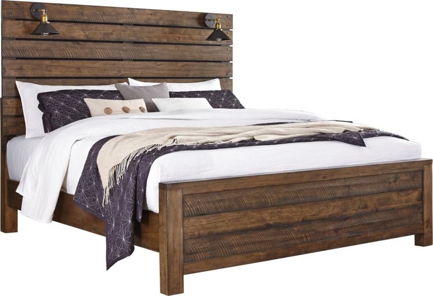 Dakota Rustic Queen Panel Bed with Built-In Lamps by Samuel Lawrence at  Darvin Furniture