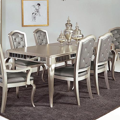 Samuel Lawrence Diva Rectangular Leg Table W Mirrored Edging