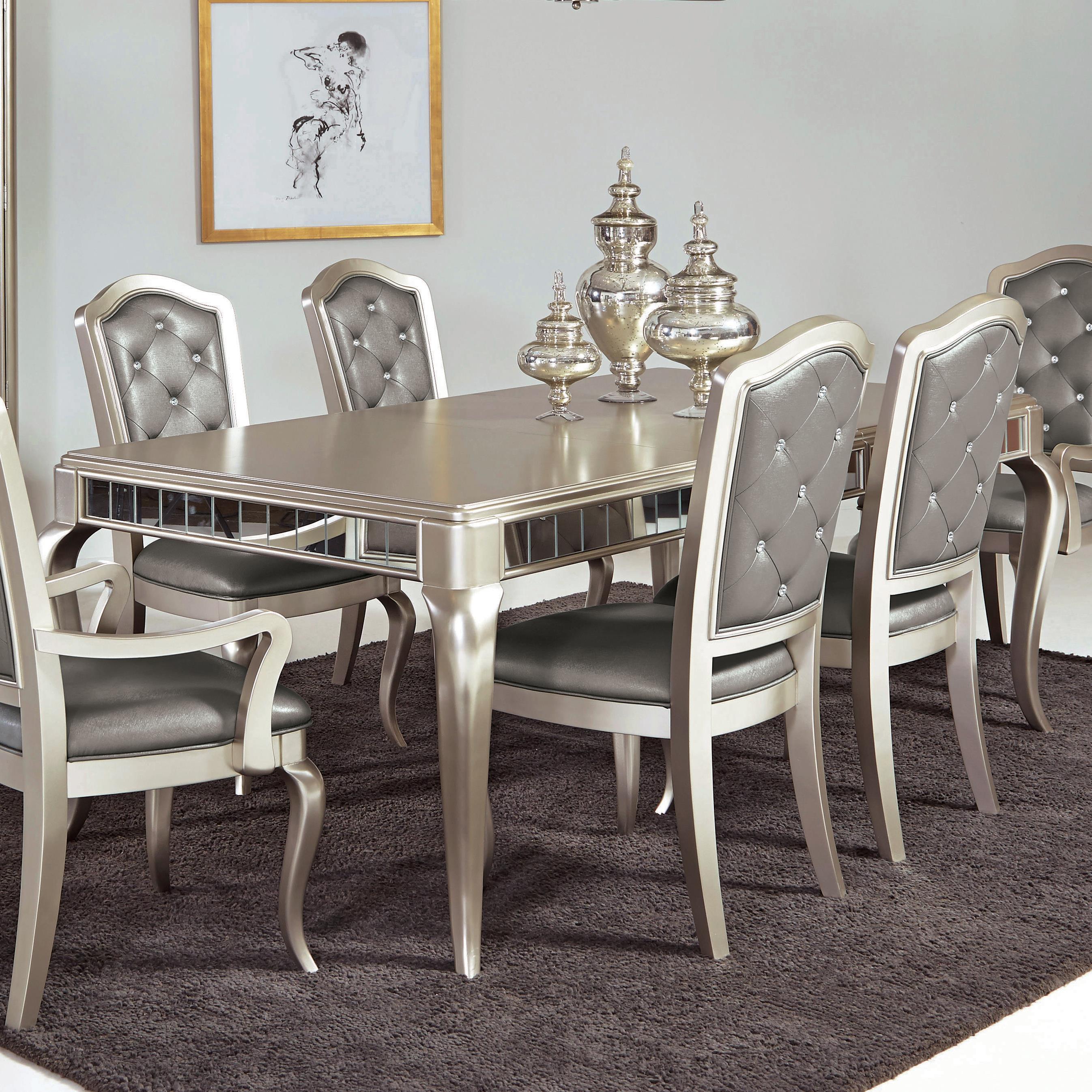 Marvelous Samuel Lawrence Diva Rectangular Leg Table W/ Mirrored Edging