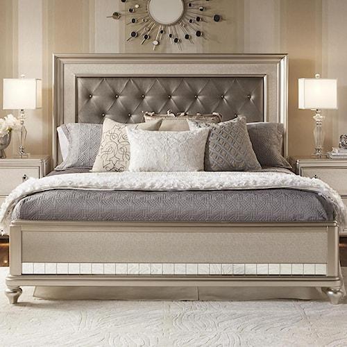 Samuel Lawrence Diva Cal King Panel Bed w/ Tufted Headboard ...