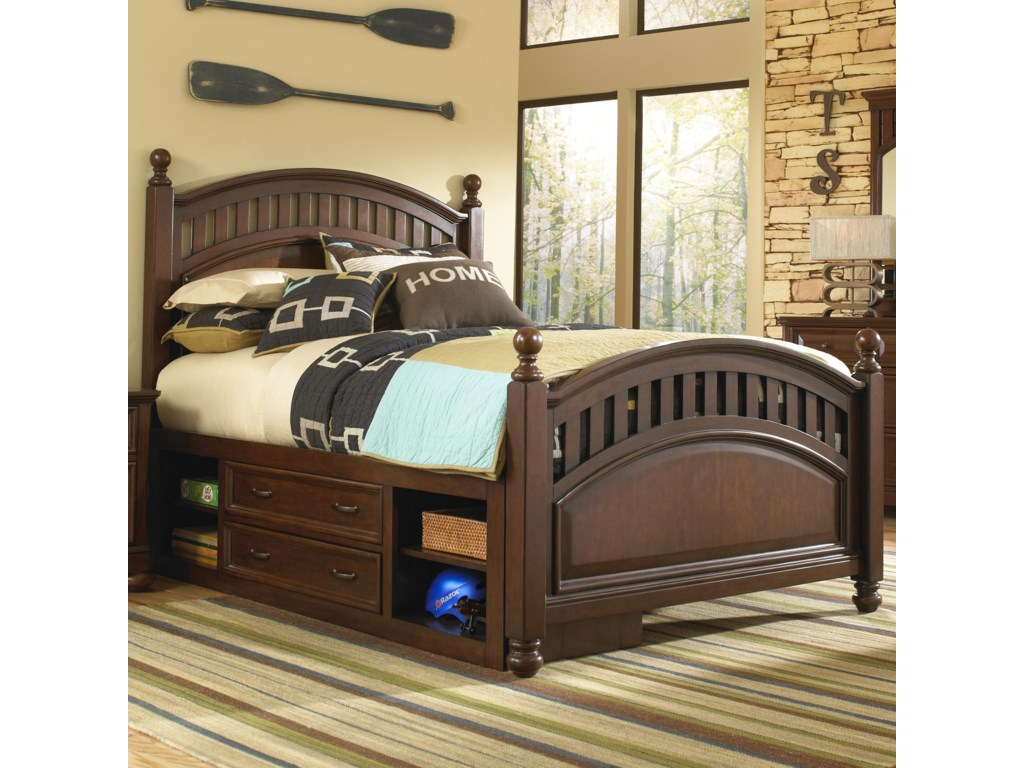 Samuel Lawrence GriffinTwin Low Post Bed w/ Storage Unit