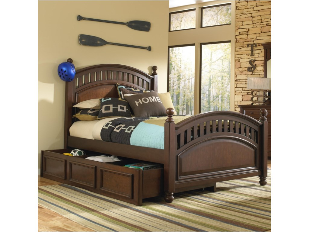 Samuel Lawrence Expedition Youth Full Low Post Bed w/ Trundle ...