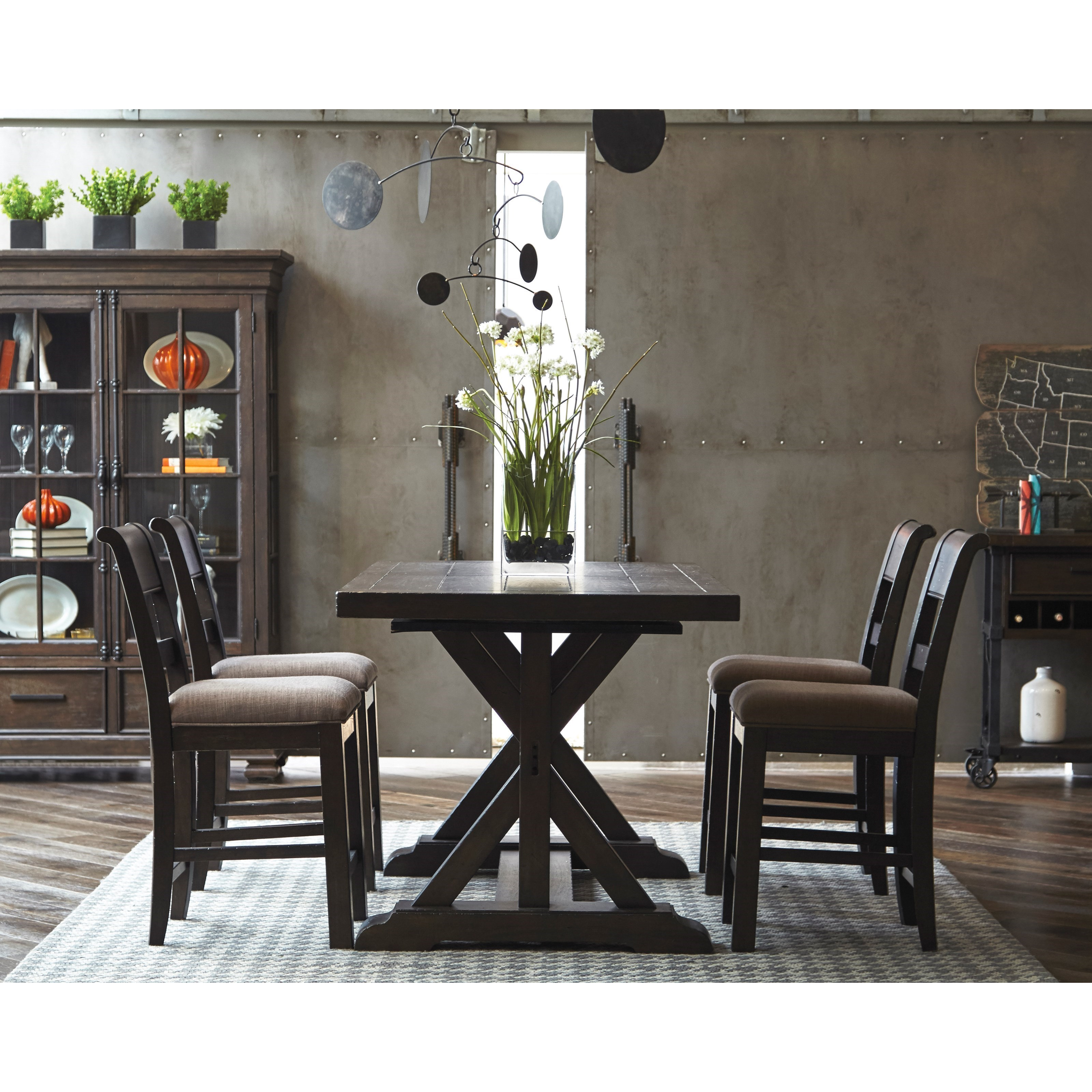 Samuel Lawrence Fulton Street 5 Piece Trestle Gathering Table And  Upholstered Chair Set