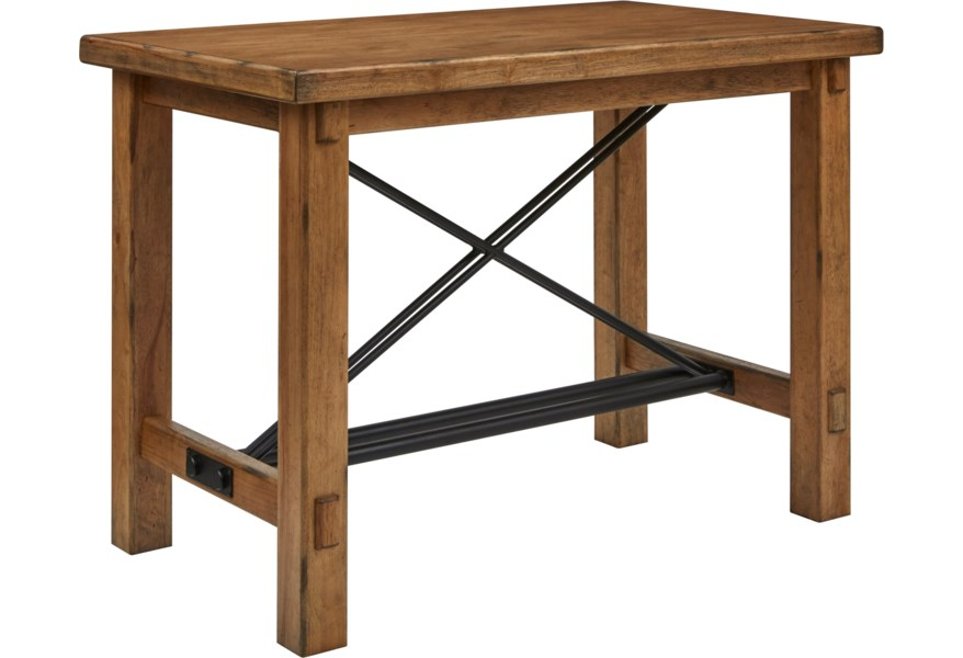 Furniture City Brewing Blonde Rustic Leg Bar Table With Trestle Base Metal Stretcher By Samuel Lawrence At Dream Home Interiors