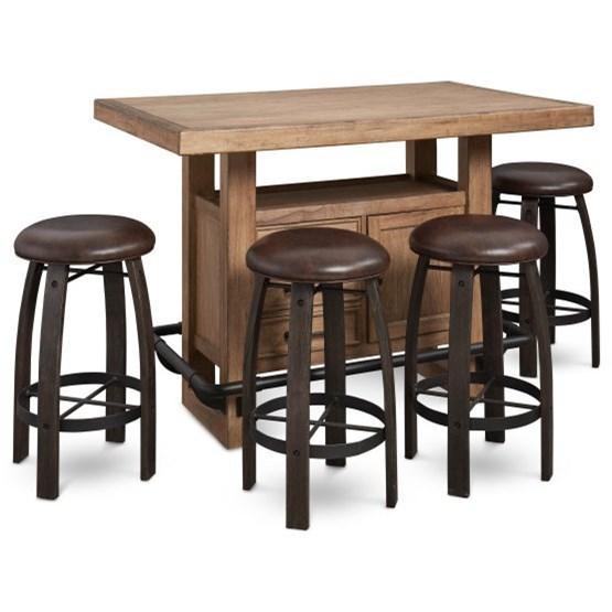 Genial Samuel Lawrence Furniture City Brewing   Blonde5 Piece Storage Leg Bar  Table Set ...