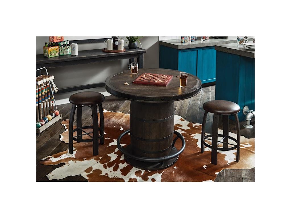 Samuel Lawrence Furniture City Brewing - StoutWhiskey Barrel Gathering Stool