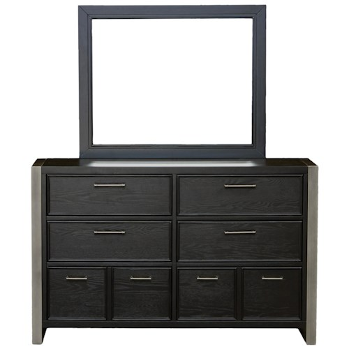 Samuel Lawrence Graphite 8 Drawer Dresser and Metal Frame Landscape Mirror Combo