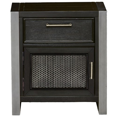 Samuel Lawrence Graphite Night Stand with Perforated Metal Panel Door