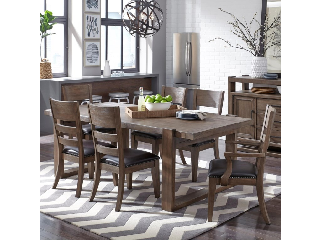 samuel lawrence hops 7 piece rectangular leg table and upholstered chair set old brick furniture dining 7 or more piece sets - Old Brick Dining Room Sets
